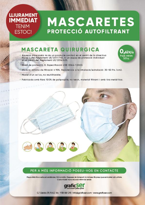 MASCARETES QUIRURGIQUES PROTECTORES SEGURETAT COVID 19 1